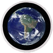 Fully Lit Earth Centered On South Round Beach Towel by Stocktrek Images