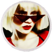 Funky Red Glasses Round Beach Towel
