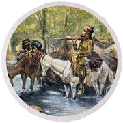 Fur Trapper Round Beach Towel