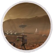 Future Mars Colonists Playing Round Beach Towel