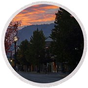 G Street Sunrise In Our Town Round Beach Towel
