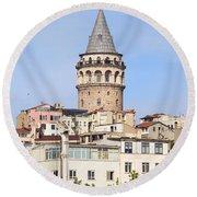 Galata Tower In Istanbul Round Beach Towel