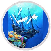 Galleon On The Cliff Filtered Round Beach Towel