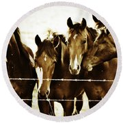 Galloping Brothers  Round Beach Towel