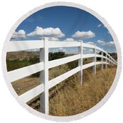 Galloping Fence Round Beach Towel