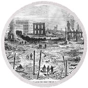 Galveston: Fire, 1877 Round Beach Towel