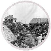 Galveston Flood Debris - September - 1900 Round Beach Towel by International  Images