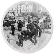 Galway Ireland - The Market At Eyre Square - C 1901 Round Beach Towel