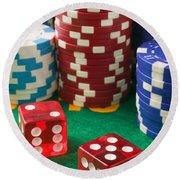Gambling Dice Round Beach Towel
