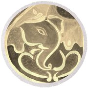 Ganesha In Sepia Hues Round Beach Towel