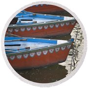 Ganges River, Varanasi, India Moored Round Beach Towel