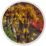 Garage And Leaves Round Beach Towel