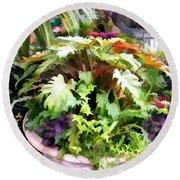 Garden Bowl Of Foliage Round Beach Towel