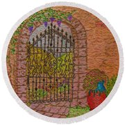 Garden Gate Round Beach Towel