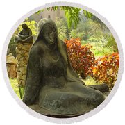 Garden Of Statues Egypt Round Beach Towel