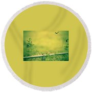 Garden Scene After Lightroom Round Beach Towel