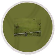 Garden Scene Before Lightroom Round Beach Towel