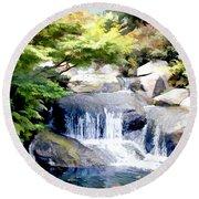 Garden Waterfall With Koi Pond Round Beach Towel