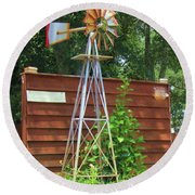 Garden Windmill Round Beach Towel