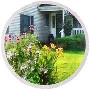 Garden With Coneflowers And Lilies Round Beach Towel