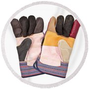 Gardening Gloves Round Beach Towel by Tom Gowanlock