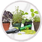 Gardening Tools And Plants Round Beach Towel