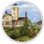 Gardens At Hereford Inlet Lighthouse  Round Beach Towel