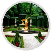 Gardens Of Linderhof Castle II Round Beach Towel