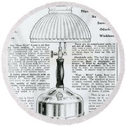 Gas Lamp Ad Round Beach Towel by Omikron