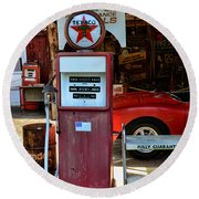 Gas Pump - Texaco Gas Globe Round Beach Towel