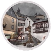 Gasthaus And Church-colour Round Beach Towel