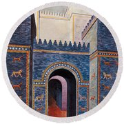 Gate Of Ishtar, Babylonia Round Beach Towel by Photo Researchers