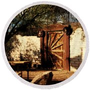 Gate To Cowboy Heaven In Old Tuscon Az Round Beach Towel