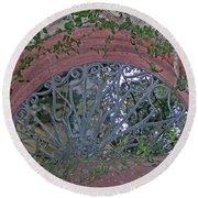 Gate To The Courtyard Round Beach Towel