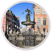 Gdansk Old City In Poland Round Beach Towel