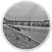 Geese Along The Schuylkill River Round Beach Towel