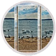 Geese Point Landing Triptych Round Beach Towel