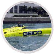 Geico Race Boat Round Beach Towel