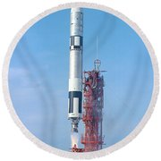 Gemini Vi Lifts Off From Its Launch Pad Round Beach Towel