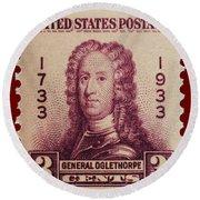 General James Oglethorpe Postage Stamp Round Beach Towel