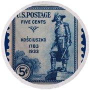 General Kosciuszko Postage Stamp Round Beach Towel