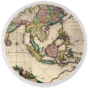 General Map Extending From India And Ceylon To Northwestern Australia By Way Of Southern Japan Round Beach Towel