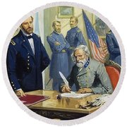General Ulysses Grant Accepting The Surrender Of General Lee At Appomattox  Round Beach Towel by Severino Baraldi