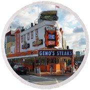 Geno's Steaks - South Philadelphia Round Beach Towel