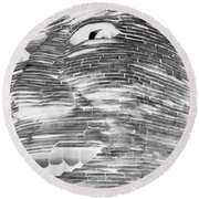 Gentle Giant In Negative Black And White Round Beach Towel