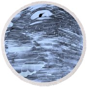 Gentle Giant In Negative Cyan Round Beach Towel