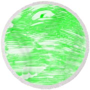 Gentle Giant In Negative Light Green Round Beach Towel
