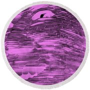Gentle Giant In Negative Pink Round Beach Towel