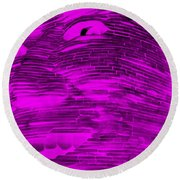 Gentle Giant In Negative Purple Round Beach Towel