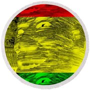 Gentle Giant In Negative Stop Light Colors Round Beach Towel